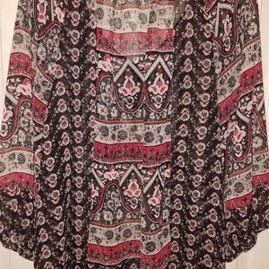 Style & Co size 3X Black and Red Flower sheer top
